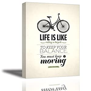 Quotes Wall Art Decor, Well-known Saying Aphorism Life Is Like Riding a Bicycle, To Keep Your Balance You Must Keep Moving by Albert Einstein, Inspirational Motto Canvas Prints (with Inner Frame)