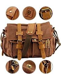 """Men's Satchel Messenger Canvas Bag Vintage Shoulder Leather School Military Sling Drawstring Rucksack Crossbody Backpack Tote For Gym Travel Work 15"""" Laptop"""