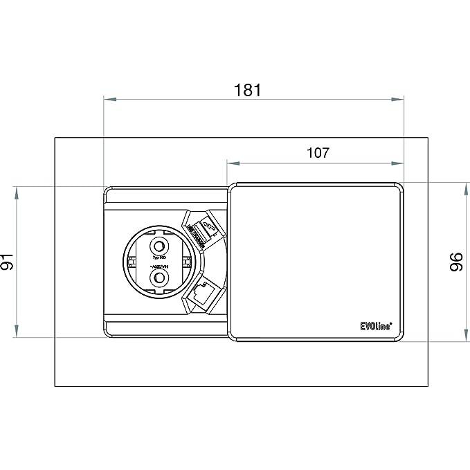 Schulte EVOline Square 80 Schuko mit USB- und QI-Charger Plus RJ45 ...