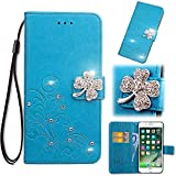 Find box Huawei Honor 10 Lite Wallet Case, [Flower Bling Embossing][Wallet Stand] [Flower Embossing] Protective Phone Bling Case Leather Protective Flip Wallet Case for Huawei Honor 10 Lite Blue