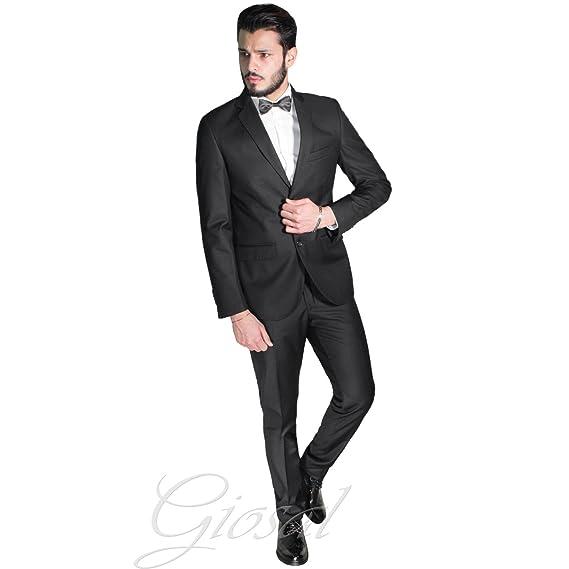 Abito Elegante Uomo Smoking Vestito Giacca Pantalone Tinta Unita Bottoni  Nero Classico GIOSAL-Nero- 095706f1128b