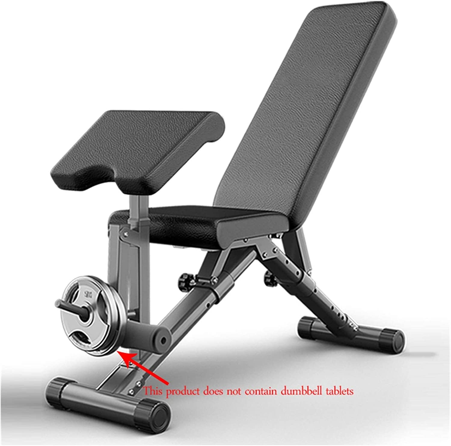 Dumbbell Bench Multi-Functional Fitness Indoor Supine Board Weight Bench Abdominal Exerciser Gym Equipment Color : Black, Size : 113 * 50 * 130cm Bearing 300KG