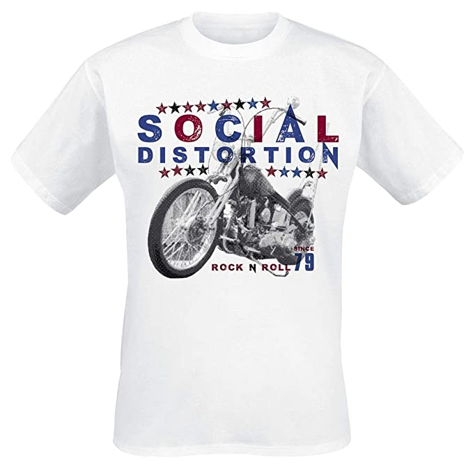 Roll T Distortion N Rock Manches Courtes Social Motorcycle Shirt 1nAq4vzB