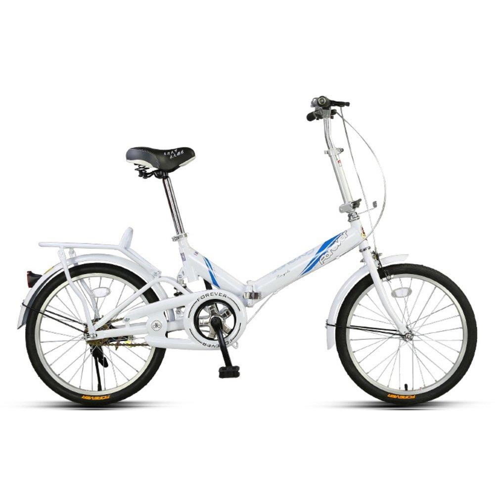 学生折りたたみ自転車, 折りたたみ自転車 軽量 ポータブル 男女 ミニ 大人 折りたたみ自転車 B07D333DDG 20inch|白 白 20inch