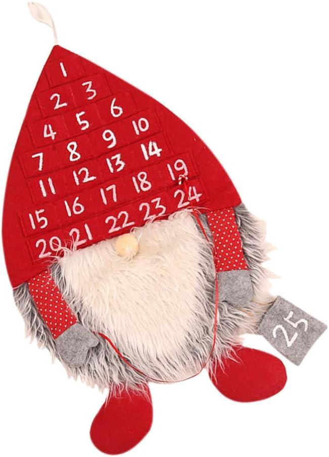 PRETYZOOM Christmas Countdown Calendar Swedish Gnome Felt Advent Calendar with 25 Days Pockets Xmas Countdown to Christmas Advent Calendar for Kids Christmas Decorations