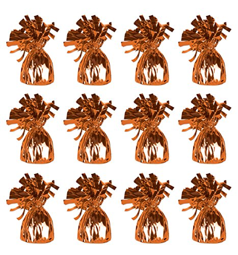 Beistle 50804 12-Piece O Metallic Wrapped Balloon (Orange Metallic Balloons)