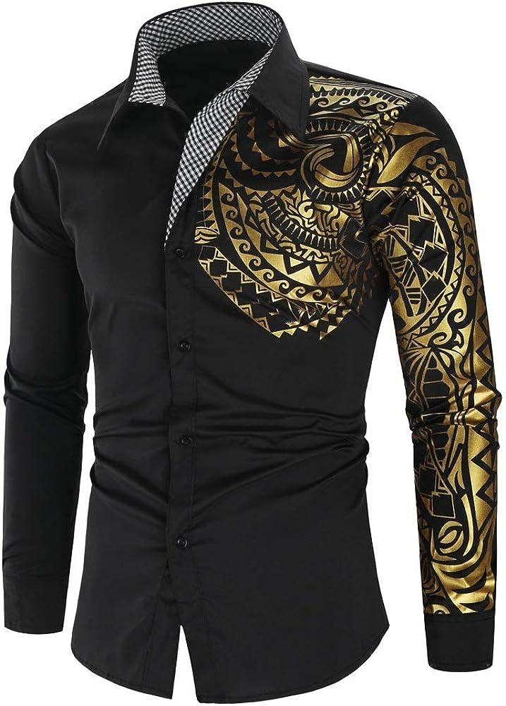 Jinyaun Camisas Hombre Camisa Negra Dorada De Lujo para ...