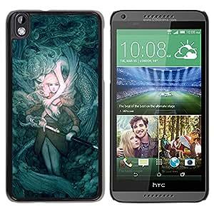 ZONECELL Negro Borde Trasera Funda Imagen Carcasa Diseño Tapa Cover Skin Case para HTC DESIRE 816 - misterio cerceta espada cuento de hadas juegos de pc