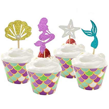 Amazon Com 48 Pack Pearl Glitter Mermaid Cupcake Toppers And