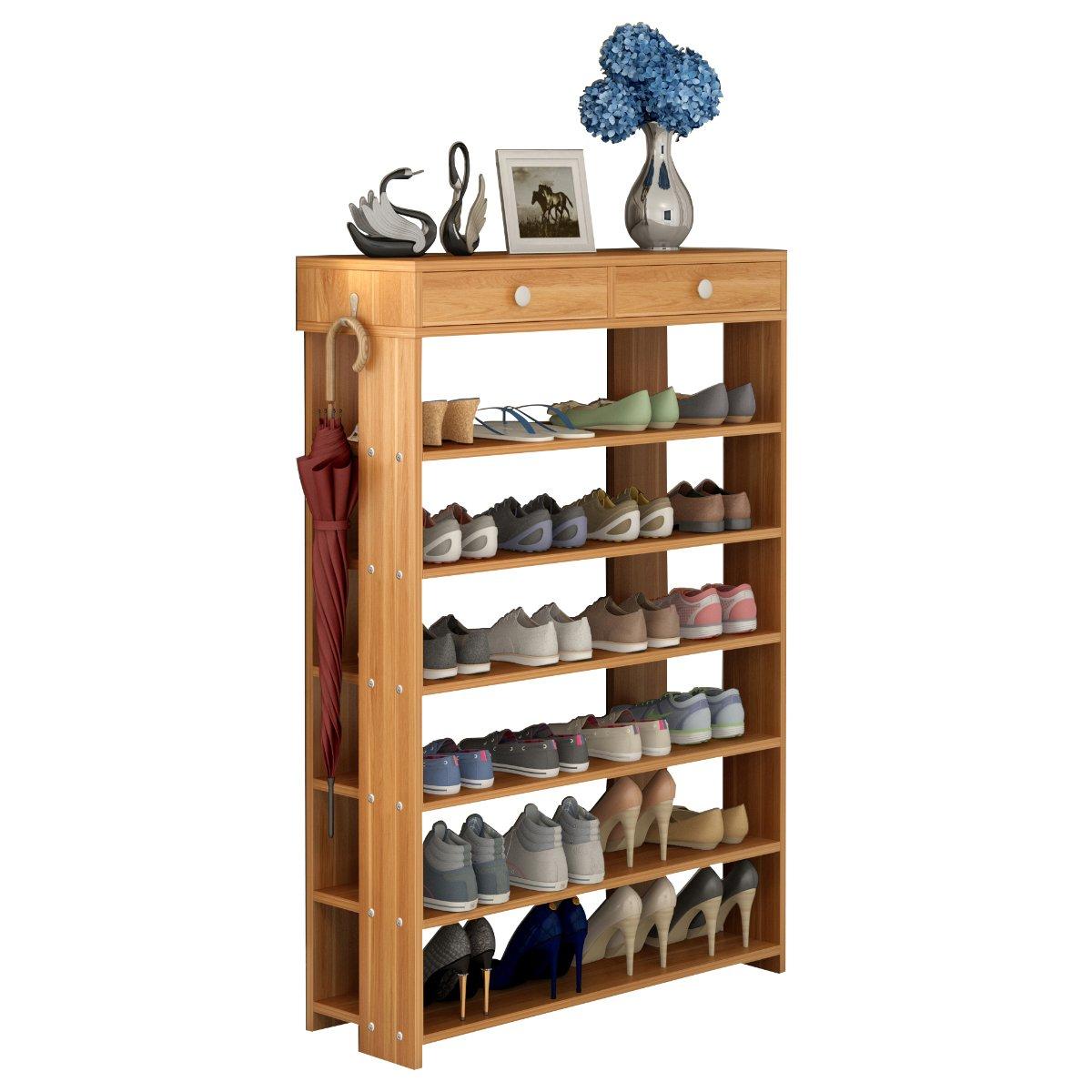 Polar Aurora Shoe Racks 7 Tiers Multi-function Economy Storage Rack Standing Shelf Organizer (Wood) by Polar Aurora (Image #4)