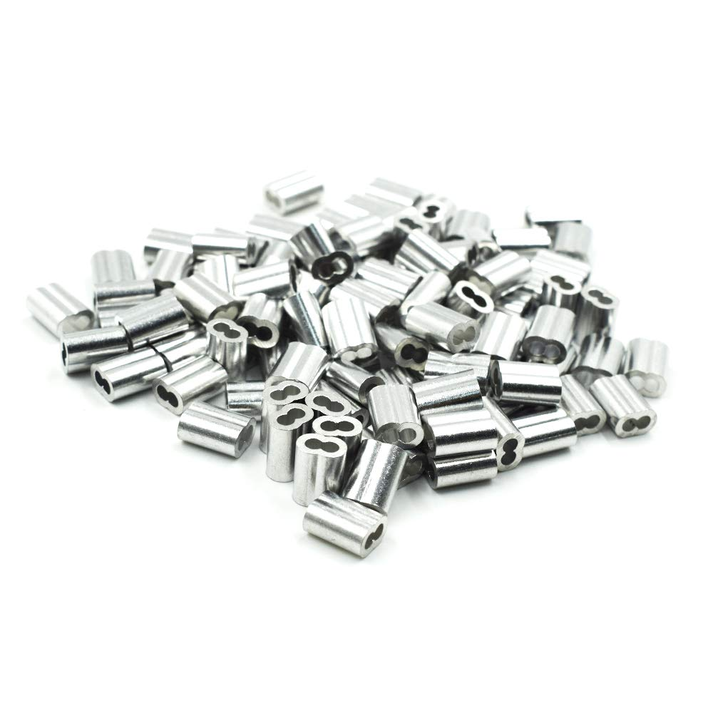 100Pcs TOUHIA Aluminum Crimping Loop Sleeve for 2.5mm Diameter Wire Rope and Cable