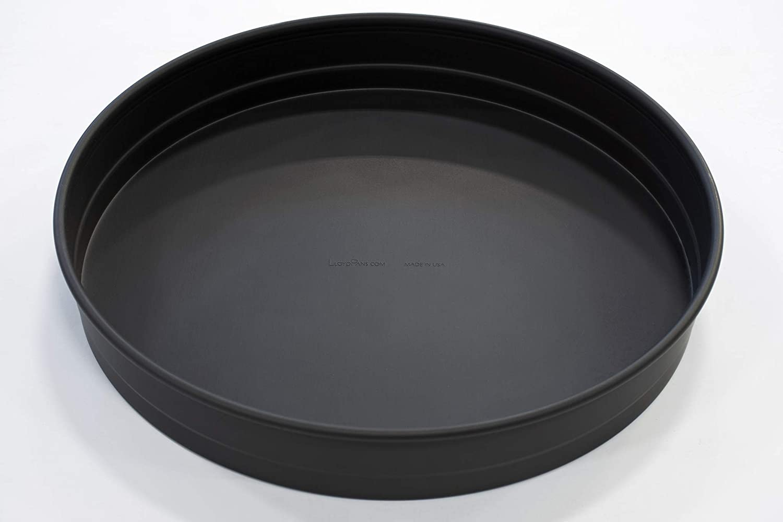 LloydPans 16x2.25, Pre-Seasoned PSTK, Self-Stacking Deep Dish Pizza Pan, 16x2.25 inches, Dark Grey