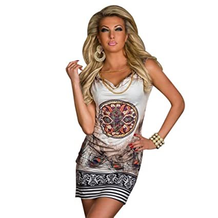 New Vestidos De Festa Sexy Mini Club Party Dress with Chain Vintage Printed Summer Casual Dress