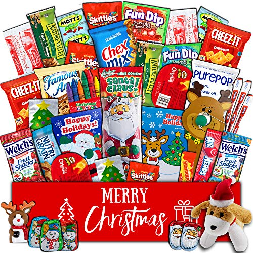 Christmas Gift Package  40 count Classic Snacks Box with Assortment of Festive Holiday Candy Chocolates Cookies Toys  Present for Kids Children Grandchildren Boys Girls College Students