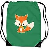 Turnbeutel Baby Fuchs Sportbeutel für Schule Sport Sporttasche Bag Base® BG10 Gymsac 45x34cm grün/farbiger Aufdruck