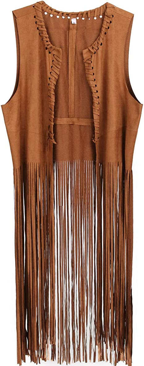 BROWN FAUX SUEDE FRINGED HIPPIE VEST WOMEN/'S ADULT HALLOWEEN COSTUME ACCESSORY