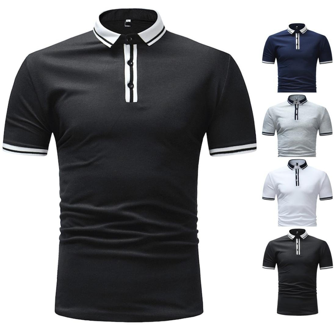21be62bbe iHPH7 Mens Blouse Business Slim Fit Shirt Short-Sleeve Polo Tops Striped  Tees at Amazon Men's Clothing store: