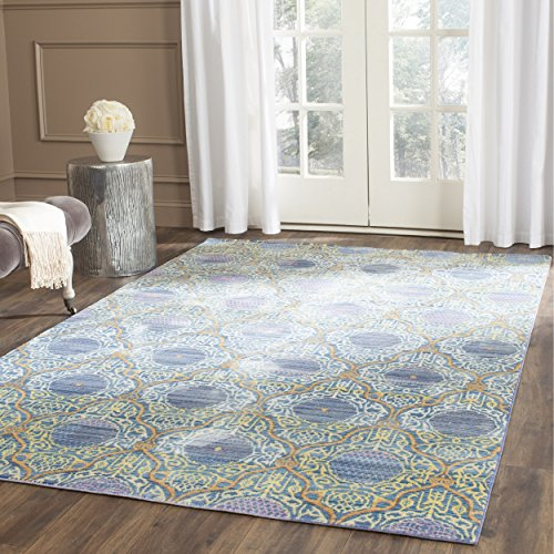 Safavieh Valencia Collection VAL106L Lavender and Gold Vintage Distressed Silky Polyester Area Rug (2′ x 3′)
