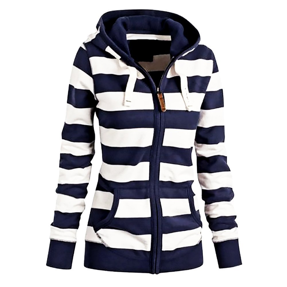 FANTIGO Women's Casual Long Sleeve Zipper Stripe Sweatshirt Hooded Blue W L