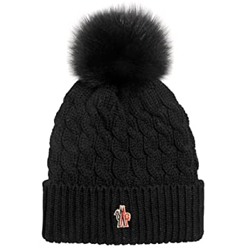 Moncler Grenoble Woman's Black Cabled Pom Pom Beanie Hat