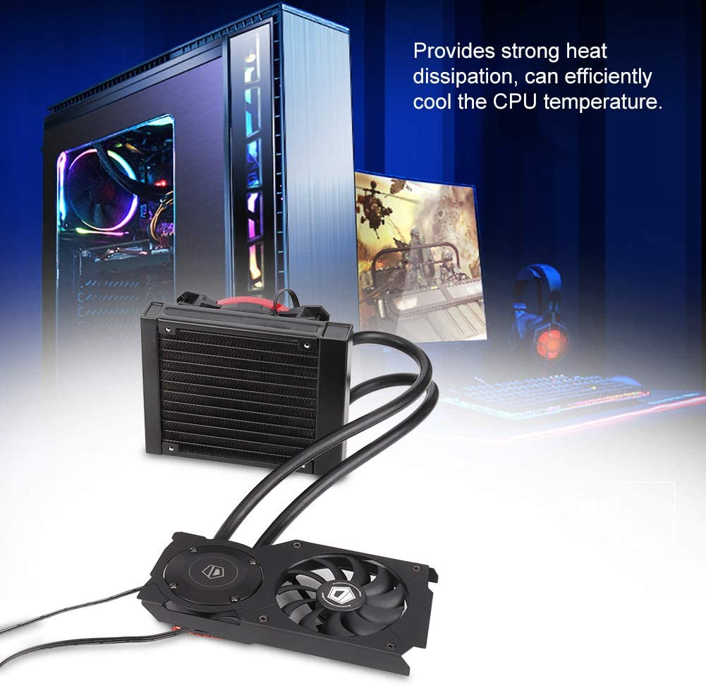 Water Cooler, CPU Cooling Fan 120VGA Graphics Card Water Cooler CPU Radiator 12CM Cooling Fan 700-1500RPM Fan Speed SATA Connector