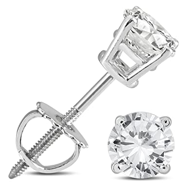 d8fff56ce Amazon.com: 5/8 Carat TW AGS Certified Round Diamond Solitaire Stud Earrings  in 14K White Gold: Jewelry