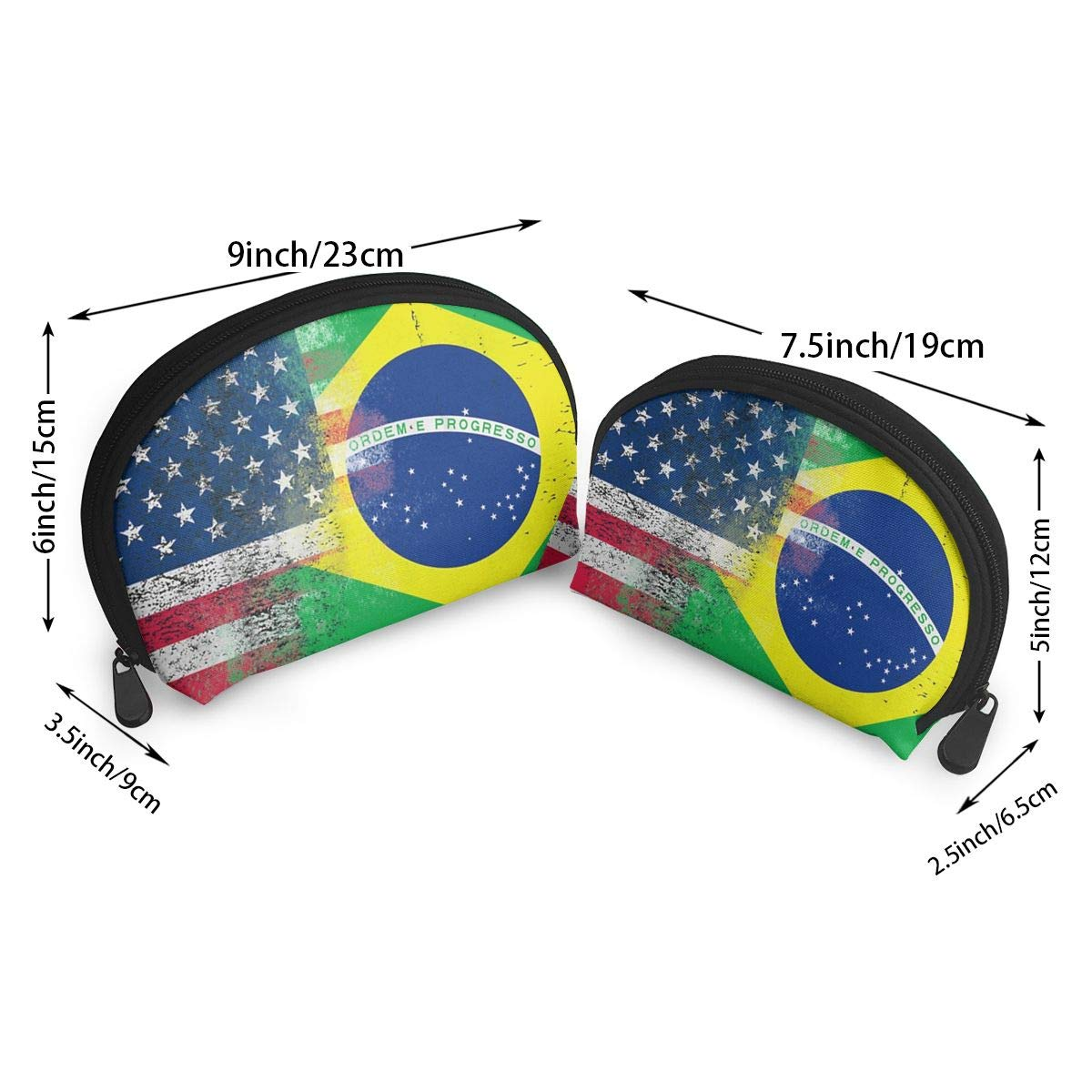 Amazon.com: UYPOPQ American and Brazilian Flags Cosmetic Bag & Case Portable Carry On Travel Toiletry Bag Makeup Quart Luggage Pouch Handbag Organizer for ...