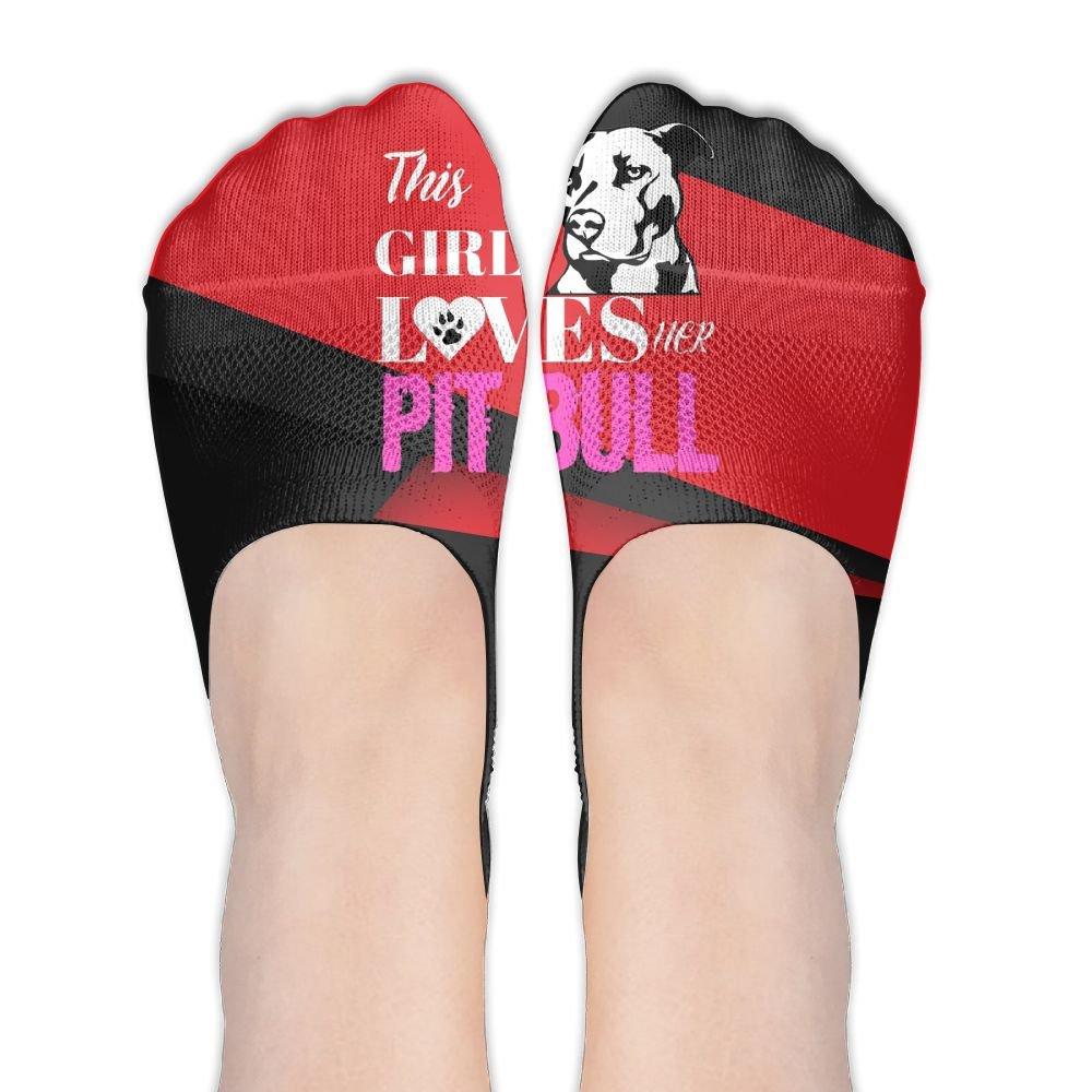 This Girl Loves Her Pit Bull Polyester Cotton Deodorant Boat Socks Non Slip Socks For Women Girl