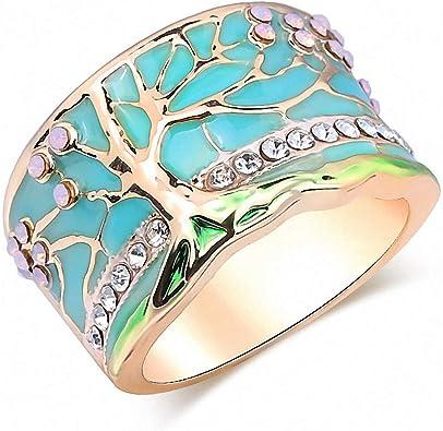 Vintage Style Jewellery Fire Opal Enamel Ring Silver Plated