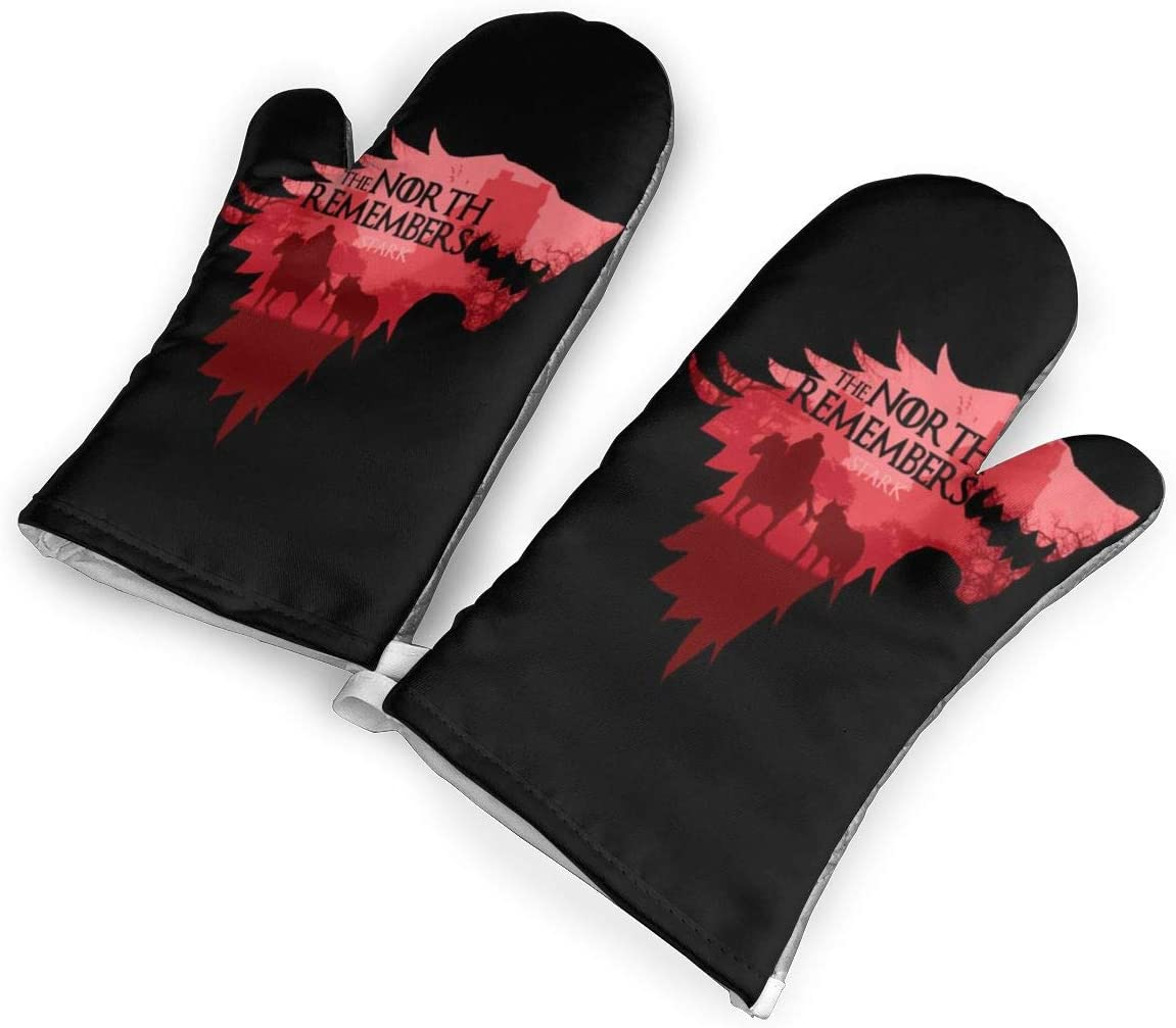 not The North Remembers Game of Thrones Oven Mitts with Polyester Fabric Printed Pattern,1 Pair of Heat Resistant Oven Gloves for Cooking,Baking,Grilling,Barbecue Potholders