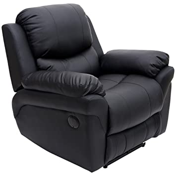 MADISON ELECTRIC LEATHER AUTOMATIC RECLINER ARMCHAIR SOFA HOME LOUNGE CHAIR  (Black)