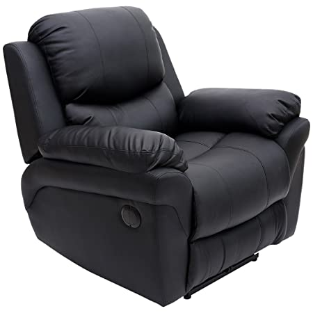 Nice MADISON ELECTRIC LEATHER AUTOMATIC RECLINER ARMCHAIR SOFA HOME LOUNGE CHAIR  (Black)