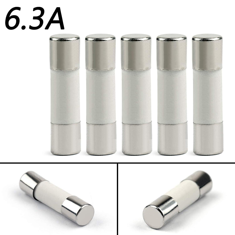Areyourshop 5Pcs 5x20mm 6.3Amp 6.3A 250V Ceramic Fuse Tube Fast Blow Fuse