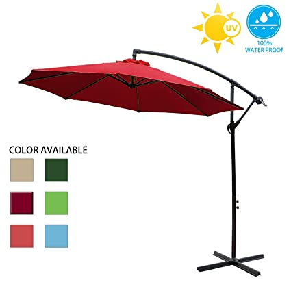 Big Lighting Deals 10ft Offset Market Patio Unbrella Cantilever Hanging  Outdoor Umbrella With Crank U0026 Cross