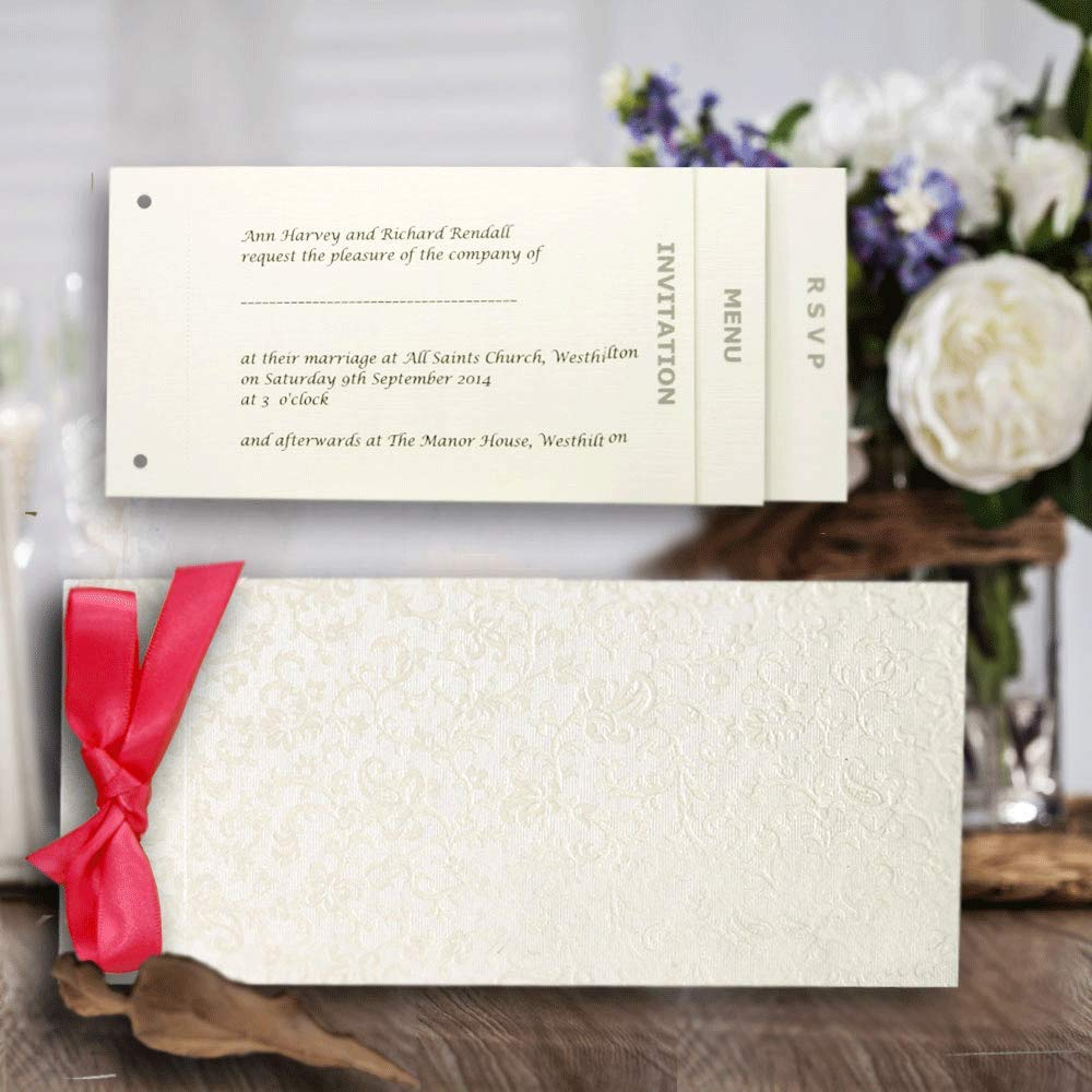 10 Blank Bright White Applique Floral Embossed Cheque Book Wedding Invitations with Inserts and Envelopes Syntego
