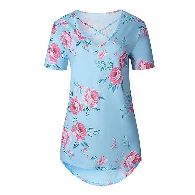 NiSeng Mujer Moda Impresión Cruzado En Cuello V Camiseta Verano Elegantes Manga Corta Flores Blusa Tops: Amazon.es: Ropa y accesorios