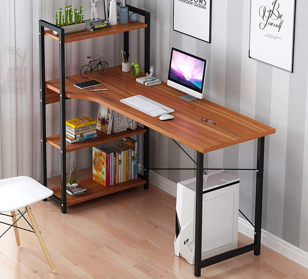 Multipurpose Computer Desk with 4 Tier Bookshelves,Modern Writing Table Home Office Desk,Compact Gaming Desk Pc Laptop Table Workstation