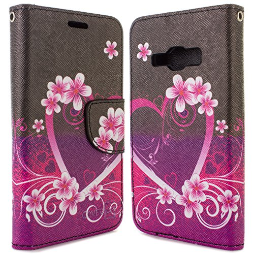 Galaxy J1 Ace Wallet Case, CoverON [CarryAll Series] Flip Folio Credit Card Slot Pouch Cover Stand + Strap Case For Samsung Galaxy J1 Ace - Purple Love - Ace Cover Galaxy Flip Samsung