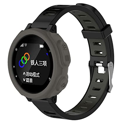 Gusspower Funda Protectora de Silicona Suave para Reloj Deportivo Garmin Forerunner 235 GPS Watch (Gris