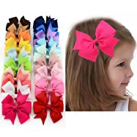 Danyoun 20 Pcs Bowknot Hairpin Headdress Grosgrain Ribbon Pinwheel Boutique Hair Bows Clips, Alligator Clip Ribbon Headbands for Baby Girls Teens Toddlers Kids Children