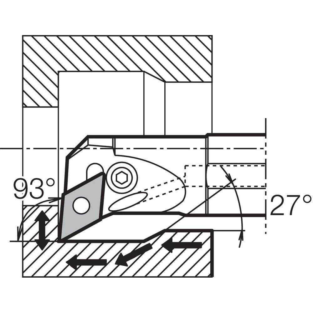 Negative Rake Kyocera A16RPDUNR3 Right-Hand General Purpose Coolant-Through Boring Bar with 3 Degree Lead Angle and 1.2600 Minimum Bore Dia.