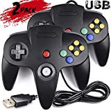 2 Pack Classic Nintendo 64 Controller, iNNEXT N64 Wired USB PC Game pad Joystick, N64 Bit USB Wired Game stick Joy pad Controller for Windows PC MAC Linux Raspberry Pi 3 Sega Genesis Higan