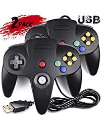 2 Pack Clásico Nintendo 64 Controller, innext N64 Wired USB PC Game Pad Joystick, N64 Bit USB Wired Controller Game Stick Joy PAD para Windows PC Mac Linux Android Raspberry Pi 3 Sega Genesis Higan