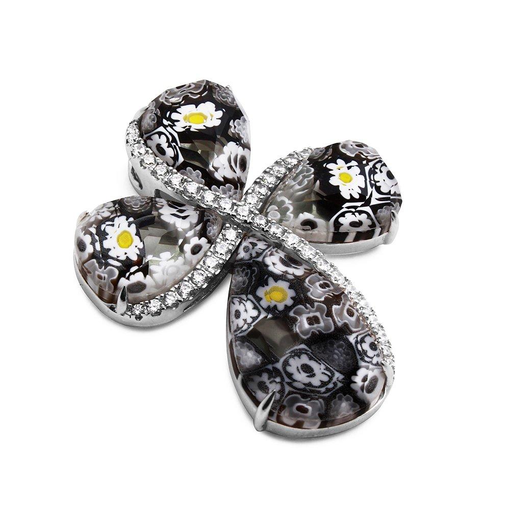 Sterling Silver Made in Italy Murano Millefiori Glass Cross Pendant CZ (Color Options) (Black)