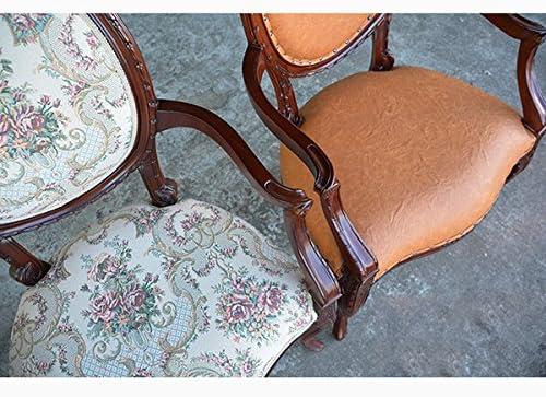 輸入家具:マホガニー:アームチェアーPVCブラウン