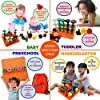 61WD2PQb7GL. SS100  - Skoolzy Peg Board Toddler Stacking Toys - STEM Color Sorting Learning Games - Montessori Toys for 1, 2, 3, 4 Year Old…