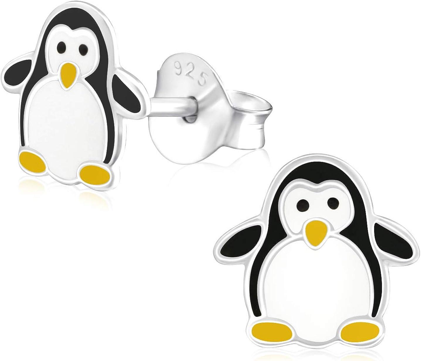 Laimons Kids Pendientes para niña Pingüino Blanco, Negro, Amarillo Plata de ley 925