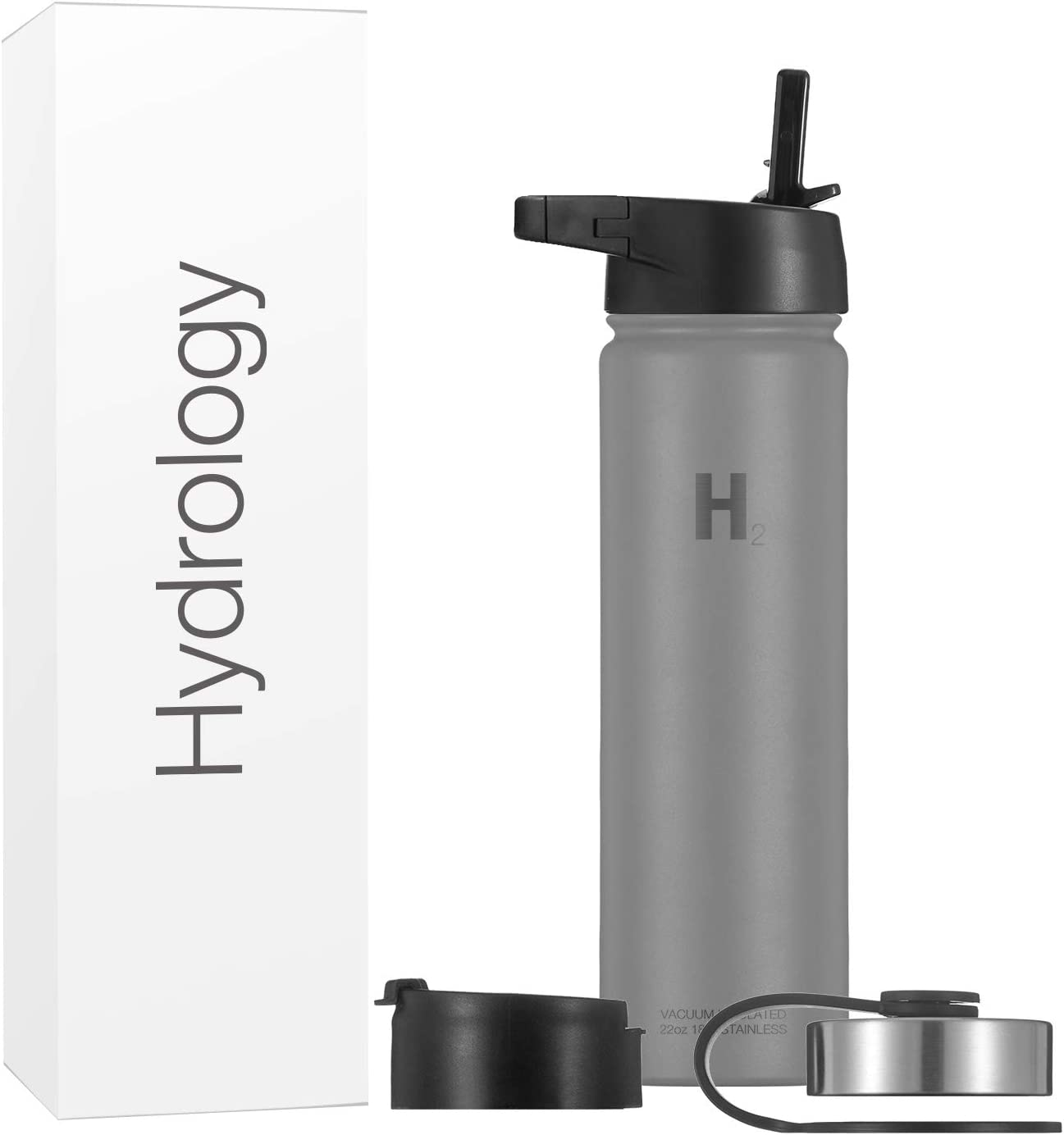 Hydrology Sports Water Bottle - 22 oz with 3 LIDS Double Wall Vacuum Insulated Stainless Steel Hydro Wide Mouth Hot & Cold Flask (Graphite, 22 oz)