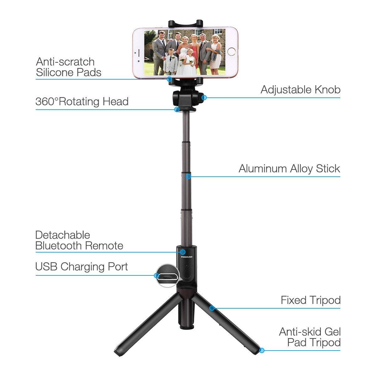 Selfie Stick Tripod,Poweradd Extendable Selfie Stick with Wireless/Detachable Remote Shutter for iPhone X /iPhone 8 /8 Plus/iPhone 7/iPhone 7 Plus/Galaxy Note 8/S8 /S8 Plus/Google More-Black