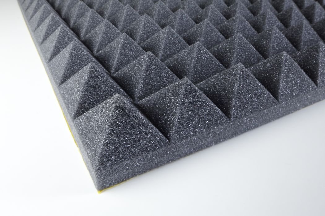 Akustikschaumstoff - Pyramidenschaumstoff 50 mm - Anthrazit 1000x500x50mm 0,5mq - Platte Eurokustik